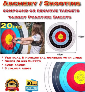 X20 Archery Shooting Targets  COMPOUND OR RECURVE 40x40cm - Outback Tactical