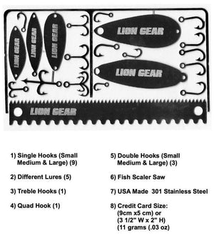 Fisherman 22-1 Survival Hunting Card Fishing Tool Set Hooks Spoons - Outback Tactical