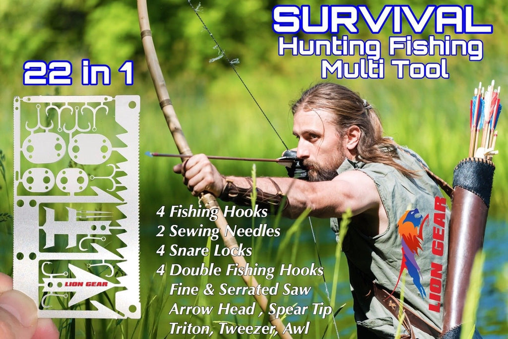 FISHING HUNTING SURVIVAL CARD Hooks Snare Locks Needles Arrow Saw - Outback Tactical