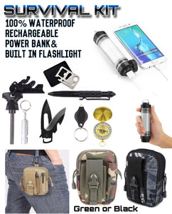 Tactical Survival Kit With Waterproof Rechargeable Power Bank Lantern 5 Modes - Outback Tactical