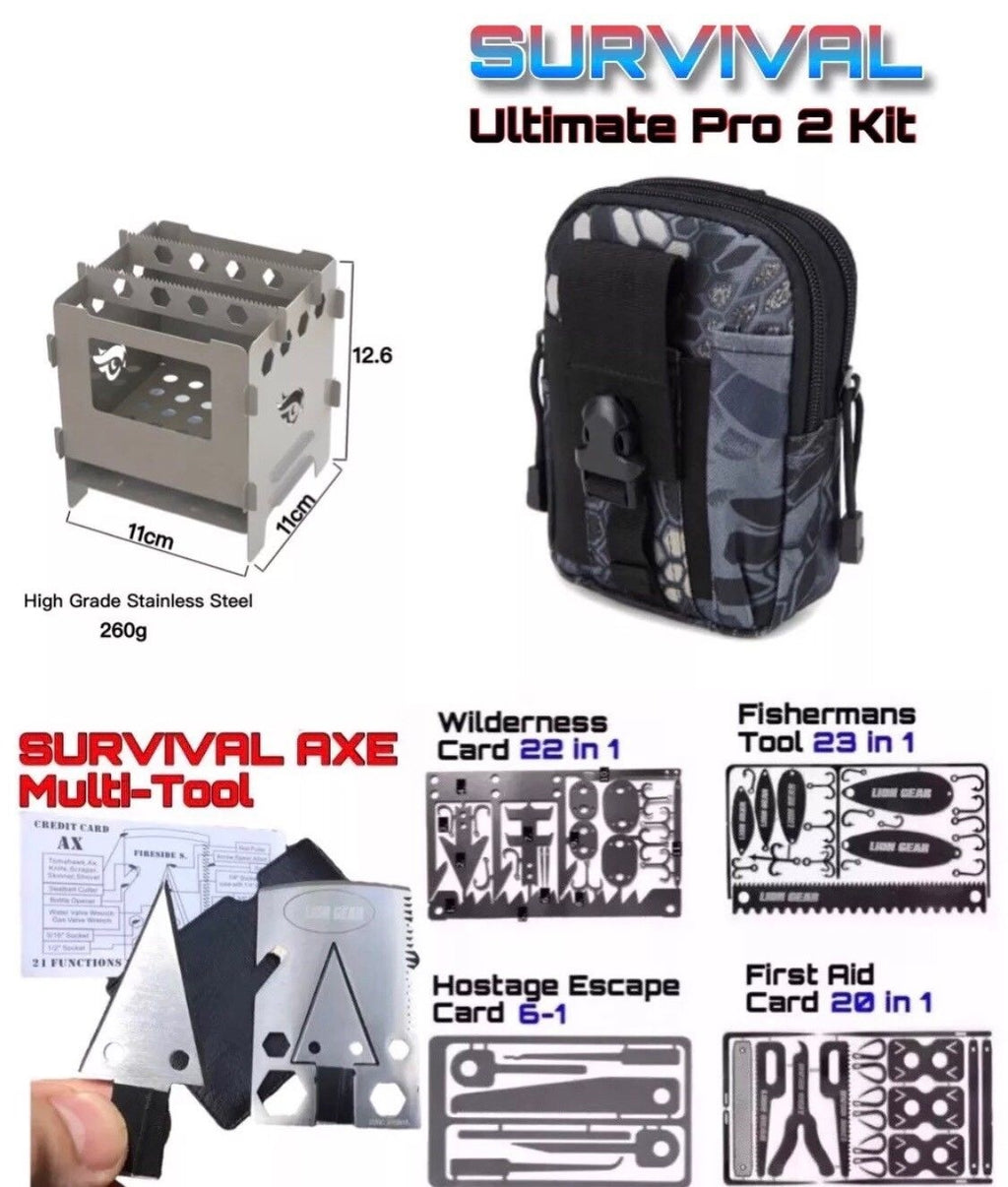 Ultimate Pro Survival Kit Set Hunting Fishing First Aid Large Camping Stove - Outback Tactical