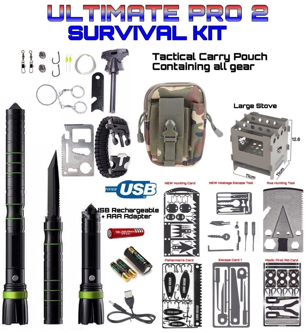 Survival Ultimate Pro Kit 5 Cards 1 Axe 2 Escape Tools 1 Large Stove Green - Outback Tactical