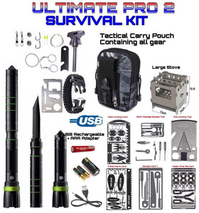 Survival Ultimate Pro Kit 5 Cards 1 Axe 2 Escape Tools 1 Large Stove Black - Outback Tactical