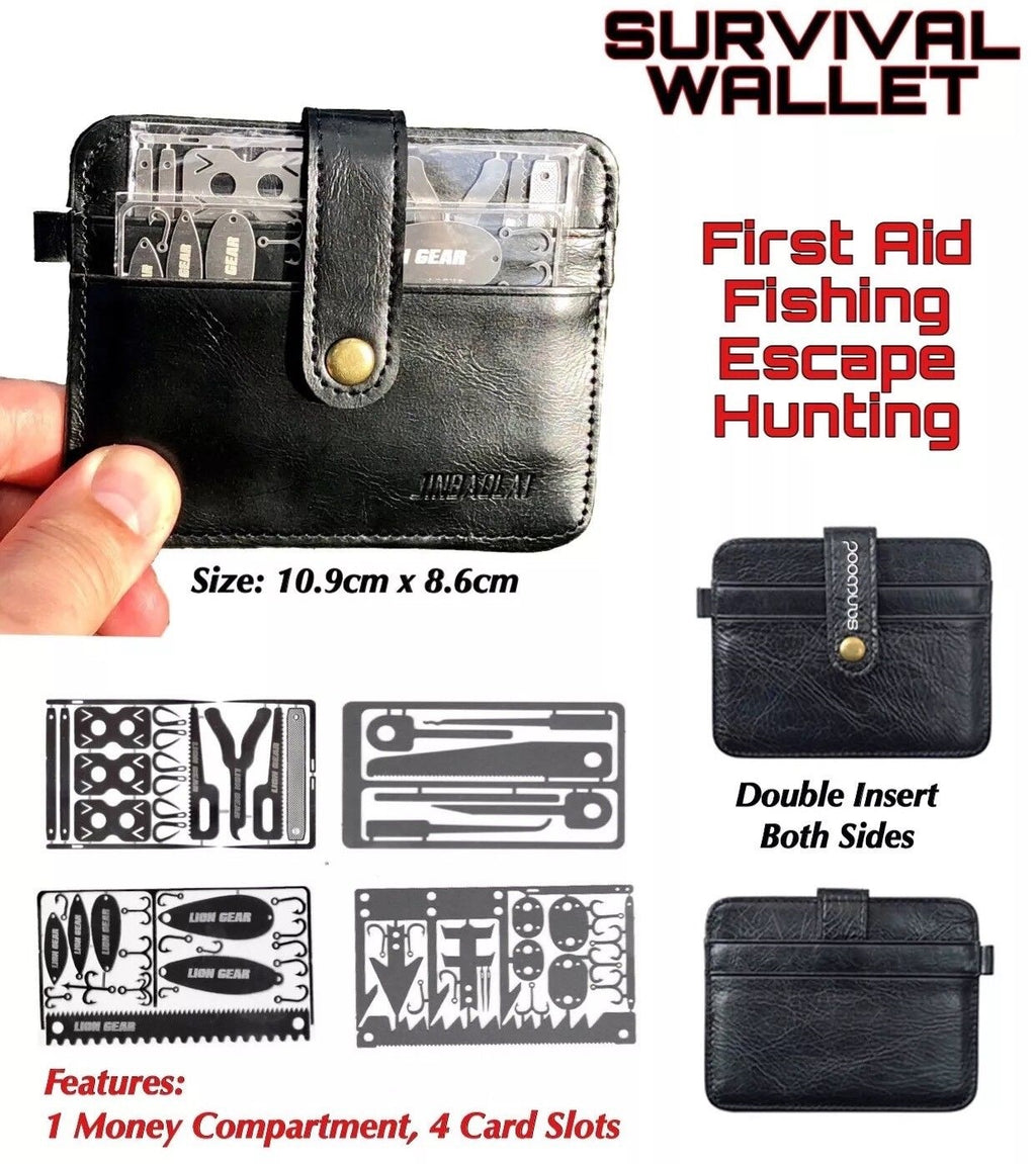 MEN'S SURVIVAL LEATHER WALLET 4 Credit Card Size Tools Fishing Hunting Medical - Outback Tactical