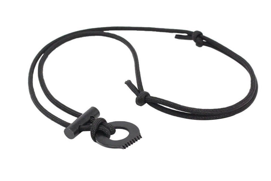 Paracord Fire Starter Necklace With Flint & Scraper Or Striker (Colour:Black ) - Outback Tactical