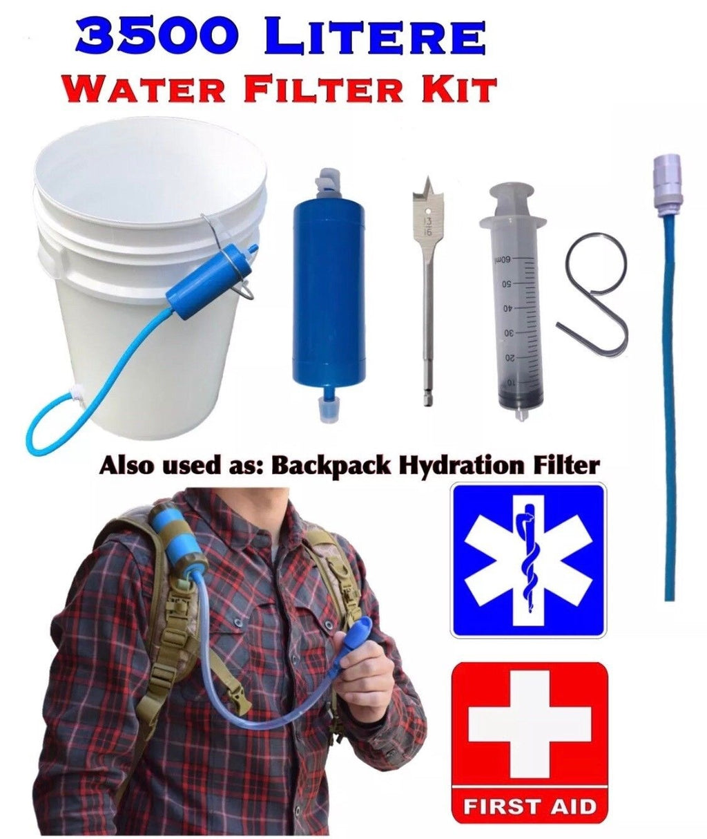 Ultra 3500 Litre Survival Gravity Water Filter Hiking Camping Emergency - Outback Tactical