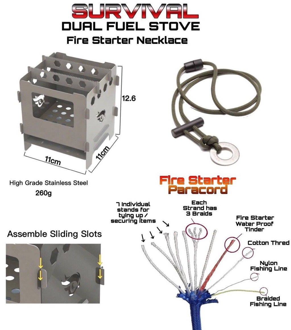 Large Survival Dual Fuel Camping Stove with Fire Starter Necklace - Outback Tactical