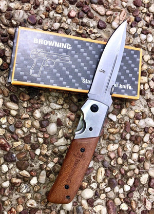 XL Large Browning DA50 Airforce Pocket Knife + FREE: Q5 LED CREE FLASHLIGHT - Outback Tactical
