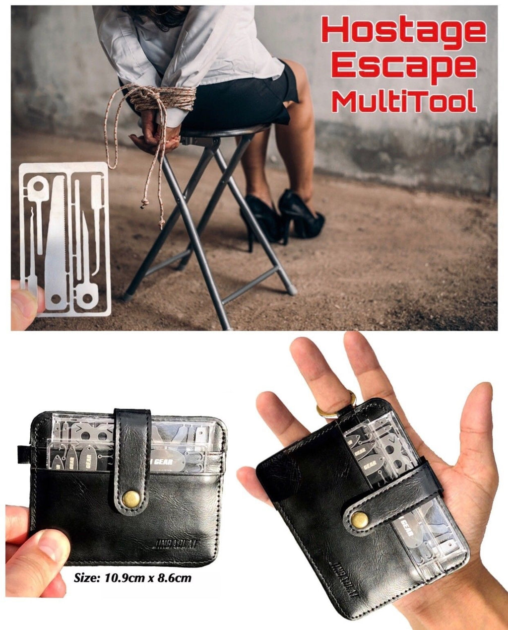 LEATHER WALLET SURVIVAL SET 4 Sleeve Survival Hostage Escape Multi Tool Set - Outback Tactical