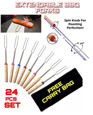 24 PCE Telescopic  Extendable Roasting Marshmallow BBQ Fork +CARRY BAG - Outback Tactical