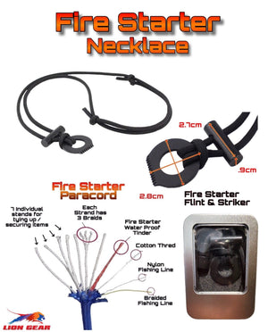 11 Stand Paracord Fire Starter Kit Necklace With Flint & Scraper / Striker - Outback Tactical
