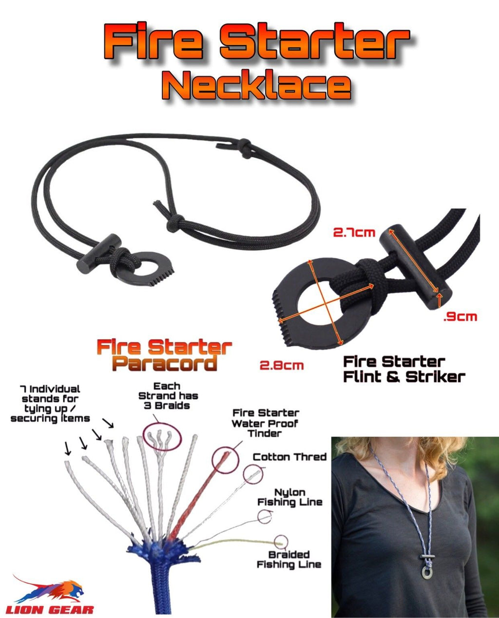 11 Stands Paracord  Fire Starter Kit Necklace +Flint & Scraper / Striker Black - Outback Tactical