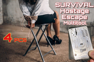 4 PCE 7 in 1 Escape Hostage Survival Card Multi Tool Credit Card Size - Outback Tactical