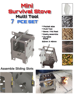 Ultimate Mini Survival Dual Fuel Camping Fishing Stove Set Flat Pack - Outback Tactical