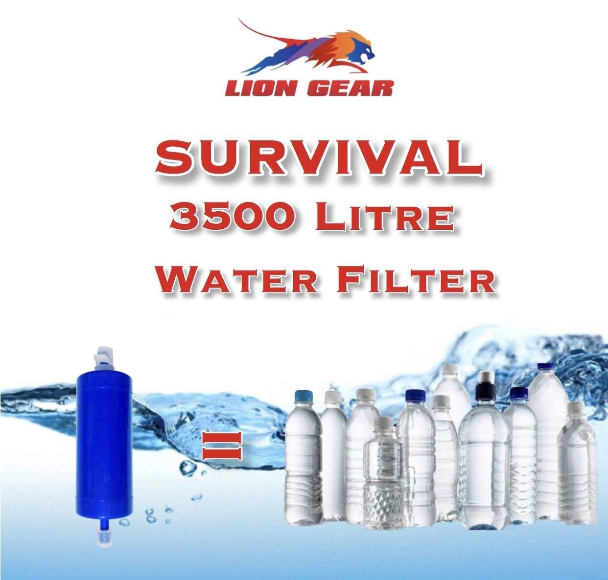 Military 3500 Liter Survival Water Filter With Hose & Rinsing Syringe - Outback Tactical