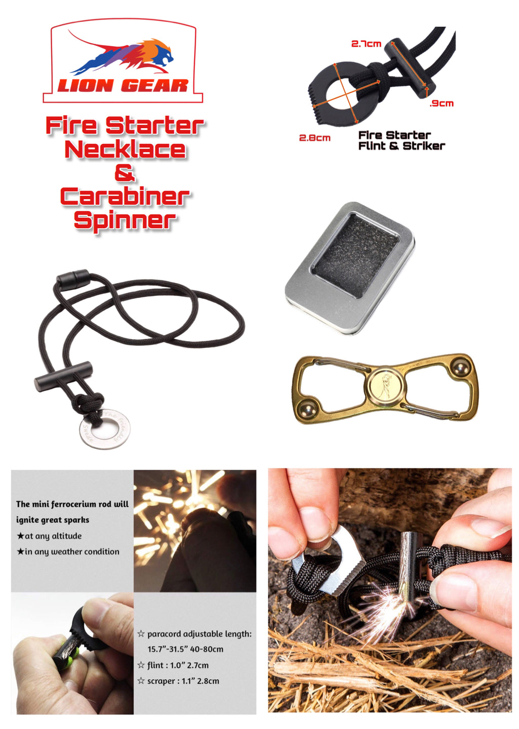 Bushcraft Survival Fire Starter Necklace +S Shape Buckle Multi Tool Spinner - Outback Tactical