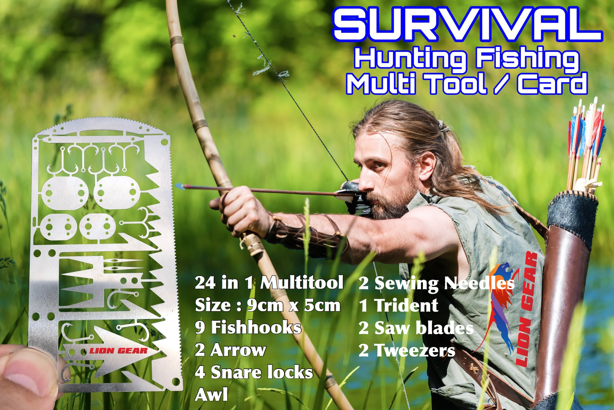 Survival Kit with Axe Hunting Fishing Medical Escape Combo Multi Tool Cards and Black Pouch - Outback Tactical