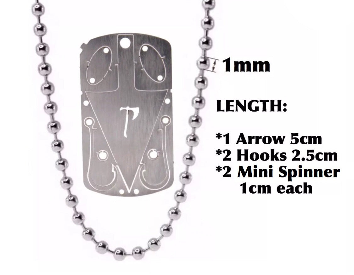 EDC SURVIVAL CARD AXE / TOMAHAWK and Hunting Fishing DOG TAG NECKLACE Multi-Tool - Outback Tactical