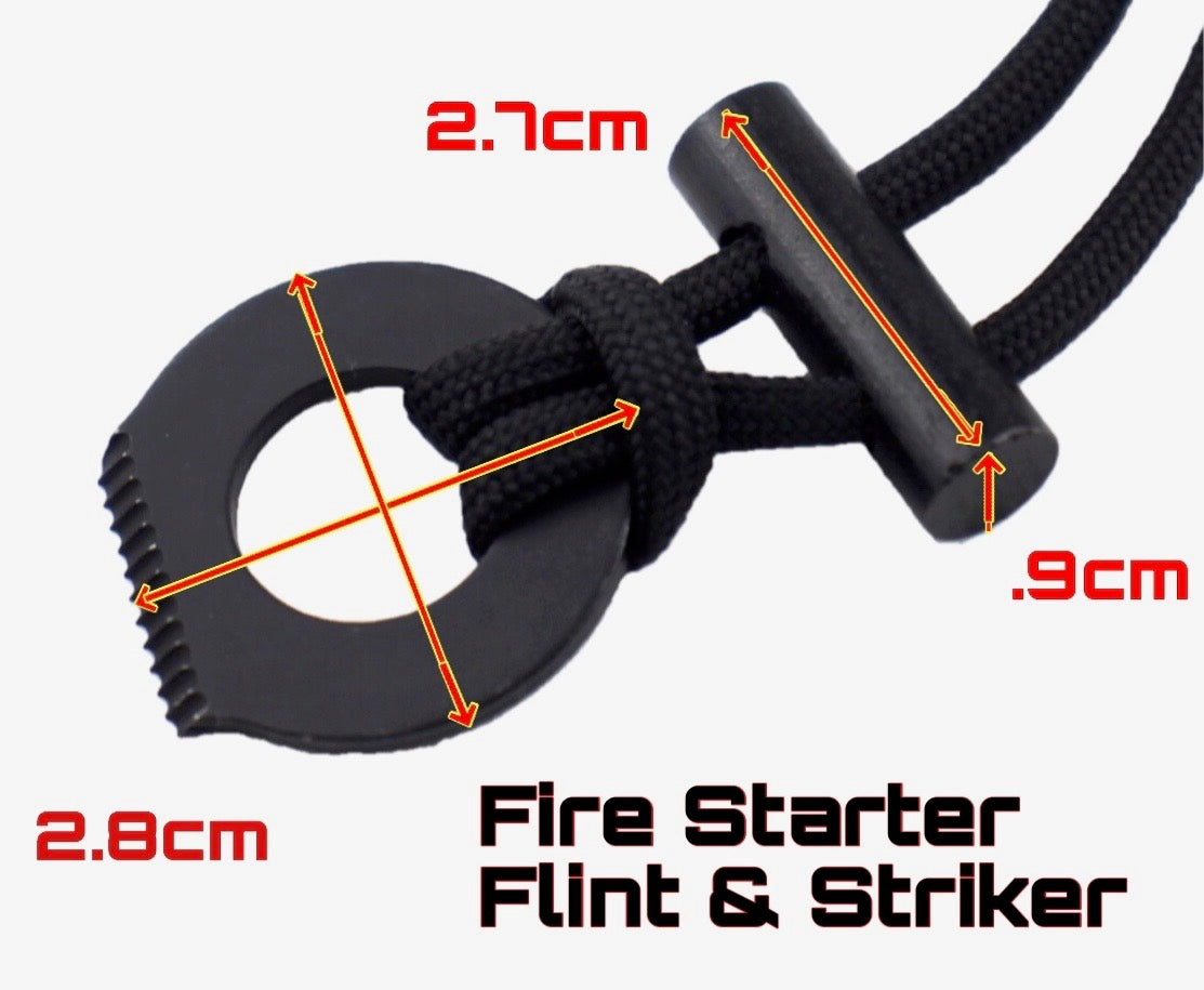 Bushcraft Fire Starter Necklace Flint & Striker - Outback Tactical