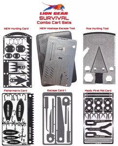 EDC 6 Pcs SURVIVAL Cards - Axe Hunting Fishing Medical Escape Hostage Combo MultiTool Set - Outback Tactical