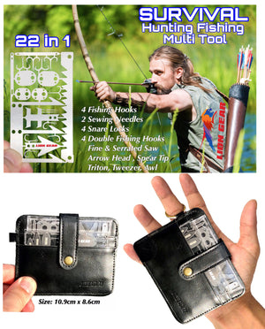 LEATHER WALLET SURVIVAL 4 Sleeve Set with NEW 24-1 Fishing And Hunting Card Tool - Outback Tactical