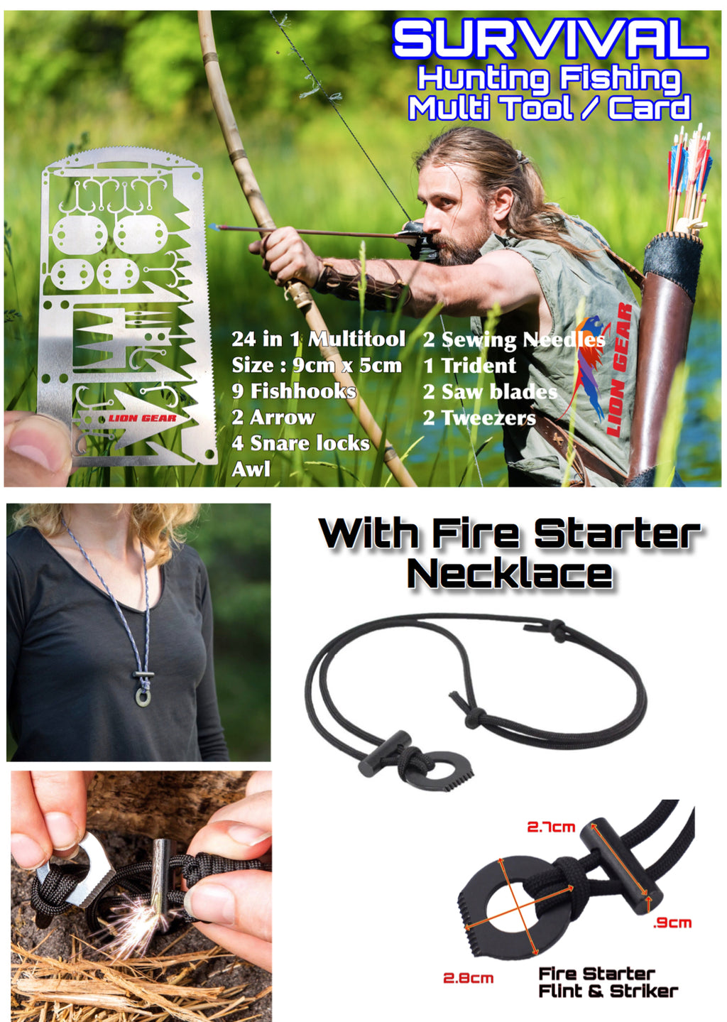 EDC 24 in 1 Hunting Fishing Tool with Fire Starter Necklace - Outback Tactical