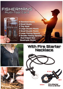 Fisherman Card Survival Fishing Hooks & Spoons Fire Starter Necklace - Outback Tactical
