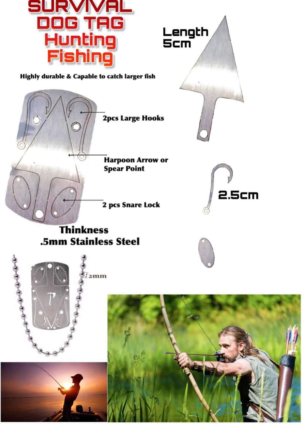 Survival Dog Tag Necklace Hunting Arrow Fishing Hooks Snare Locks Multi Tool - Outback Tactical