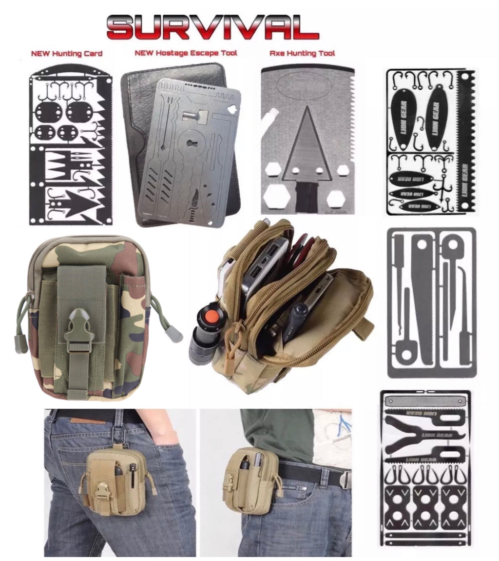 Survival Kit with Axe Hunting Fishing Medical Escape Combo Multi Tool Cards and Green Pouch Black - Outback Tactical