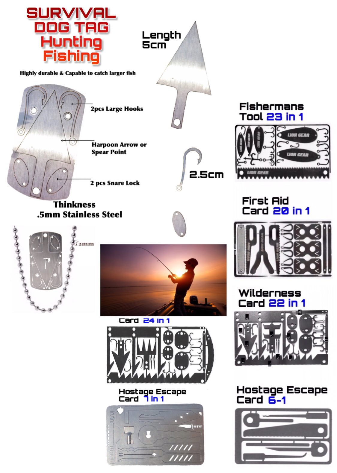 Survival Cards Set Hunting Fishing Escape First Aid, Dog Tag Necklace with Stove Options - Outback Tactical