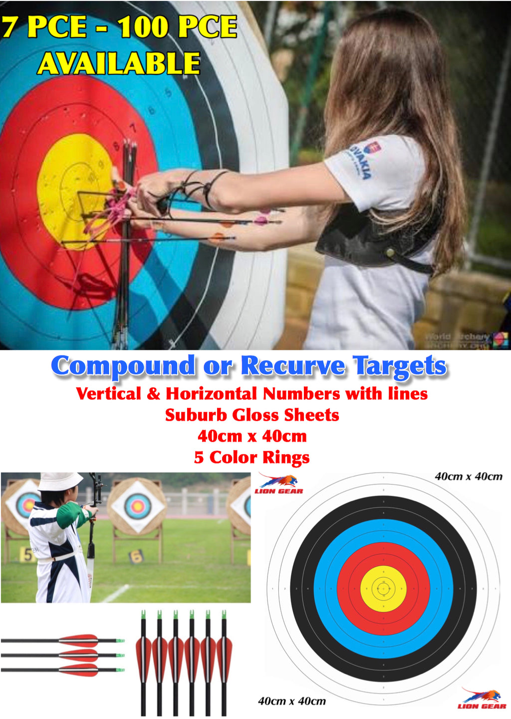 7 Pce - 100 Pce ARCHERY TARGETS COMPOUND OR RECURVE 40x40cm - Outback Tactical
