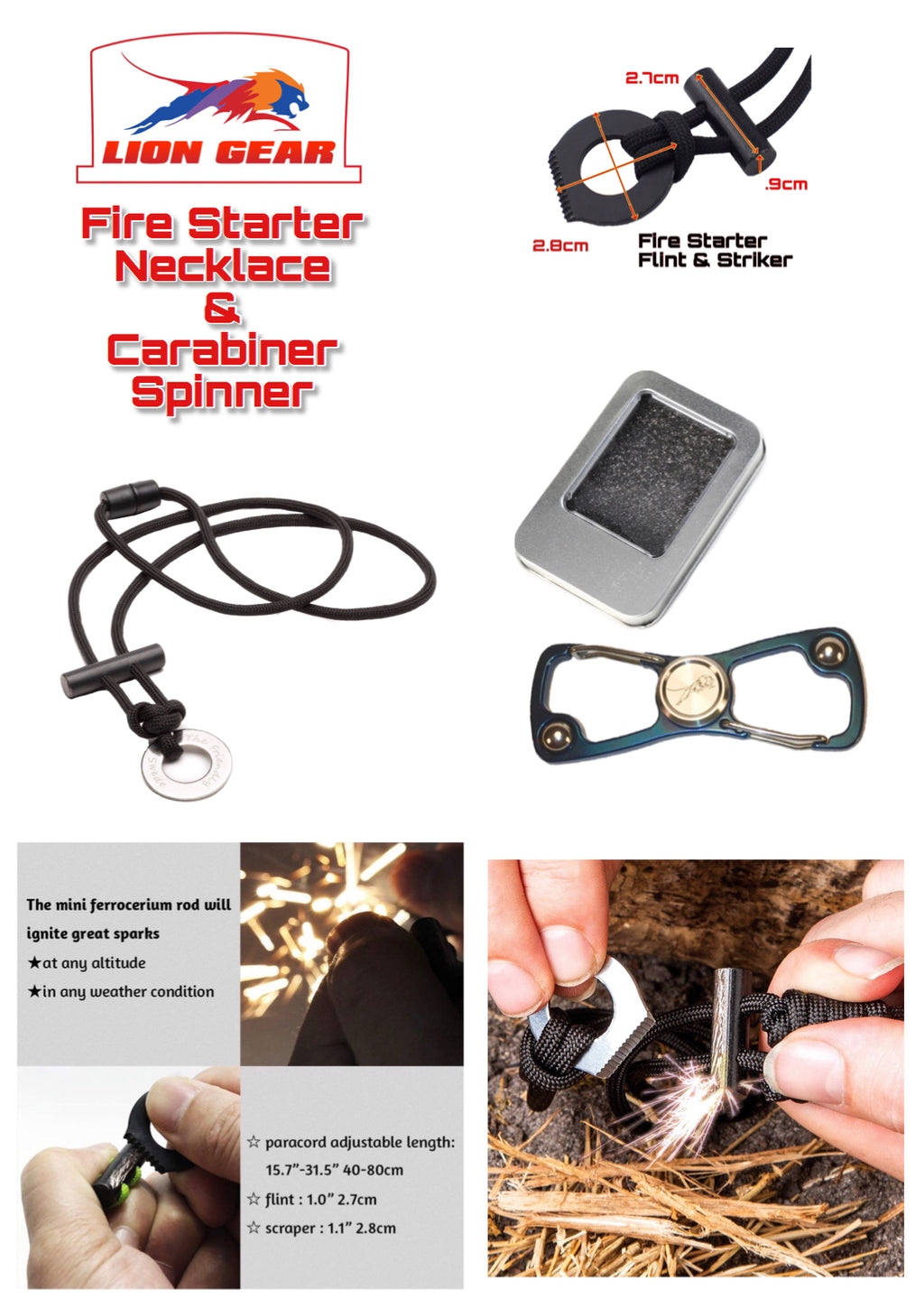 Bushcraft Survival Fire Starter Necklace And S Shape Buckle Multi Tool Spinner - Outback Tactical