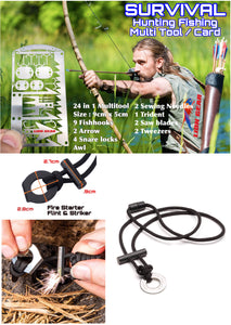 EDC Hunting Fishing Fire Starter Necklace Survival Card Tool Hooks Snare Locks - Outback Tactical