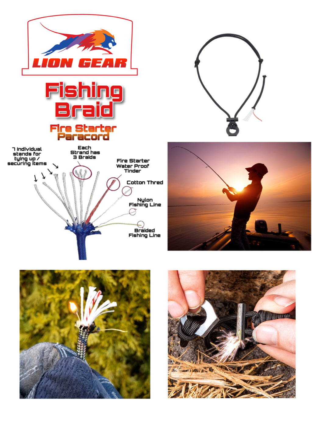 Bushcraft 11 Stand Survival Fire Starter Necklace Multi Purpose Paracord - Outback Tactical