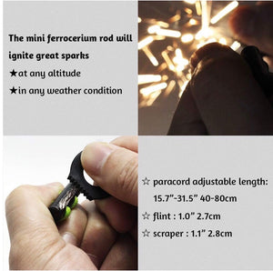 11 Stands Paracord  Fire Starter Necklace + Flint & Scraper / Striker Black - Outback Tactical