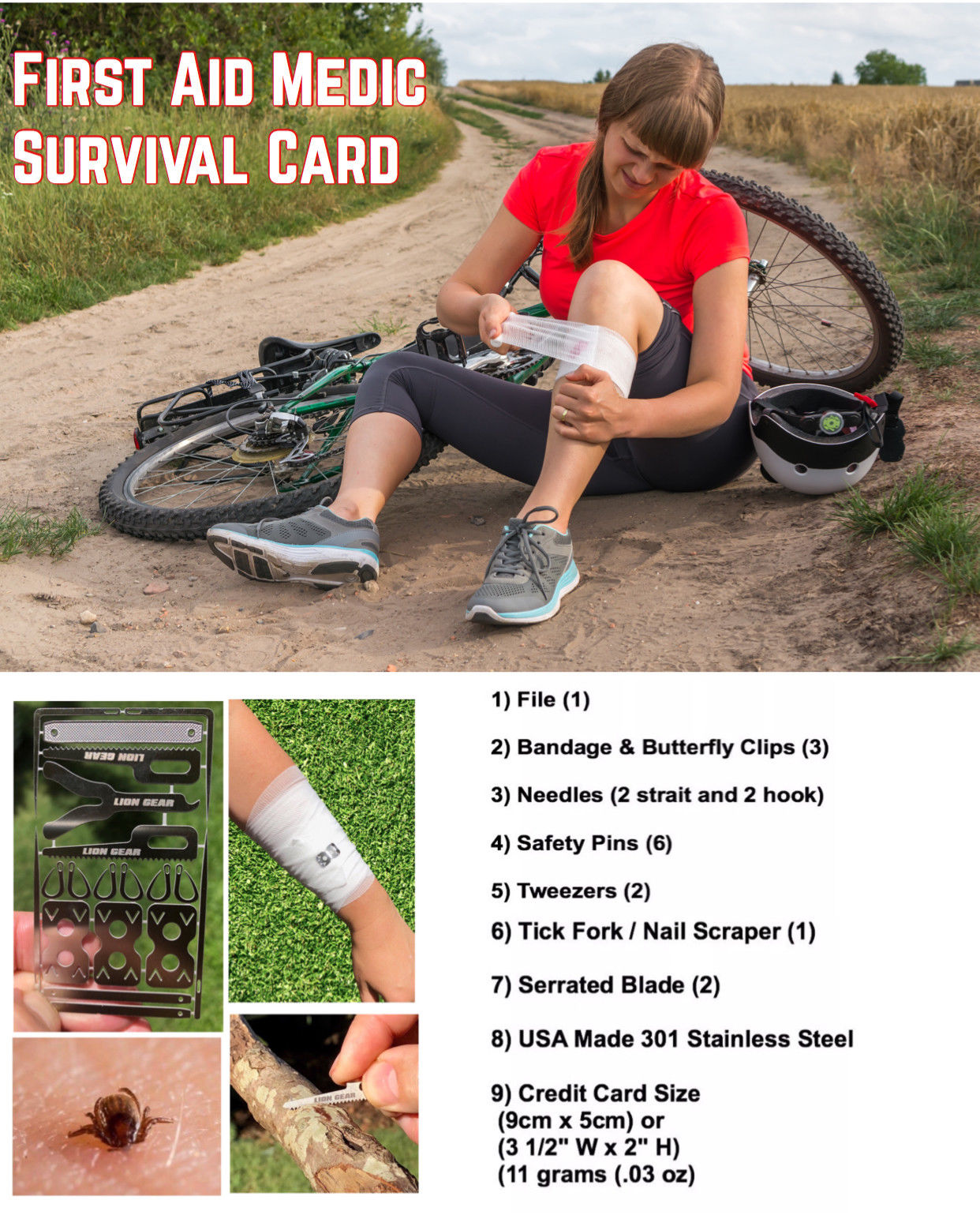 20 in 1 First Aid Medic Survival Card Tool Set with Butterfly Clips Safety Pin Tick Removal - Outback Tactical