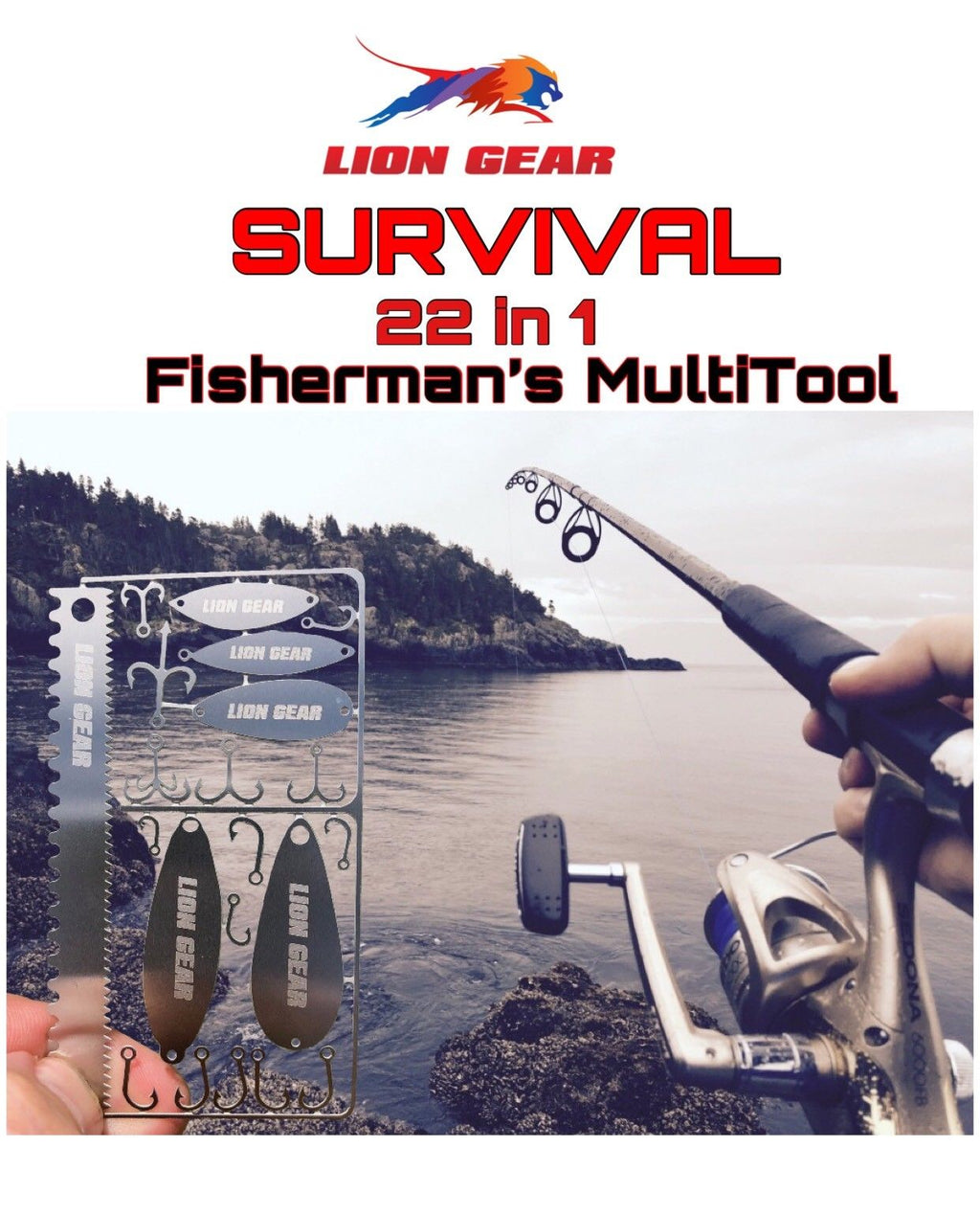 Fisherman's 22-1 Survival Hunting Card Fishing Tool Set Hooks Spoons Lures - Outback Tactical