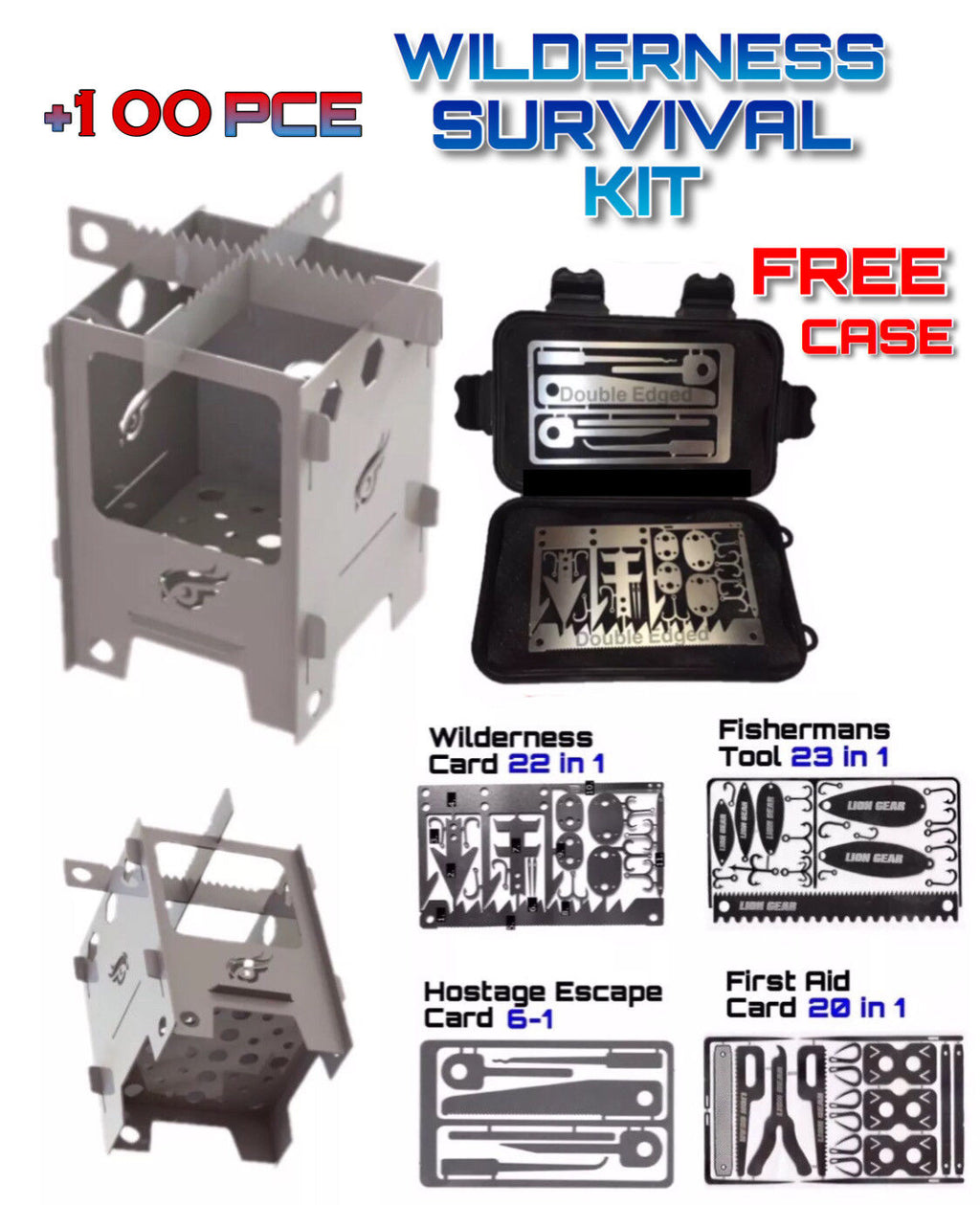 5 Pce Survival Card Set & Stove + Waterproof Case Hunting Fishing Escape First Aid - Outback Tactical