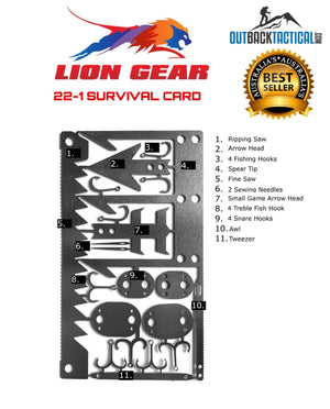 EDC LEATHER WALLET SURVIVAL SET +4 Survival Card Tools Fishing Hunting Medical - Outback Tactical