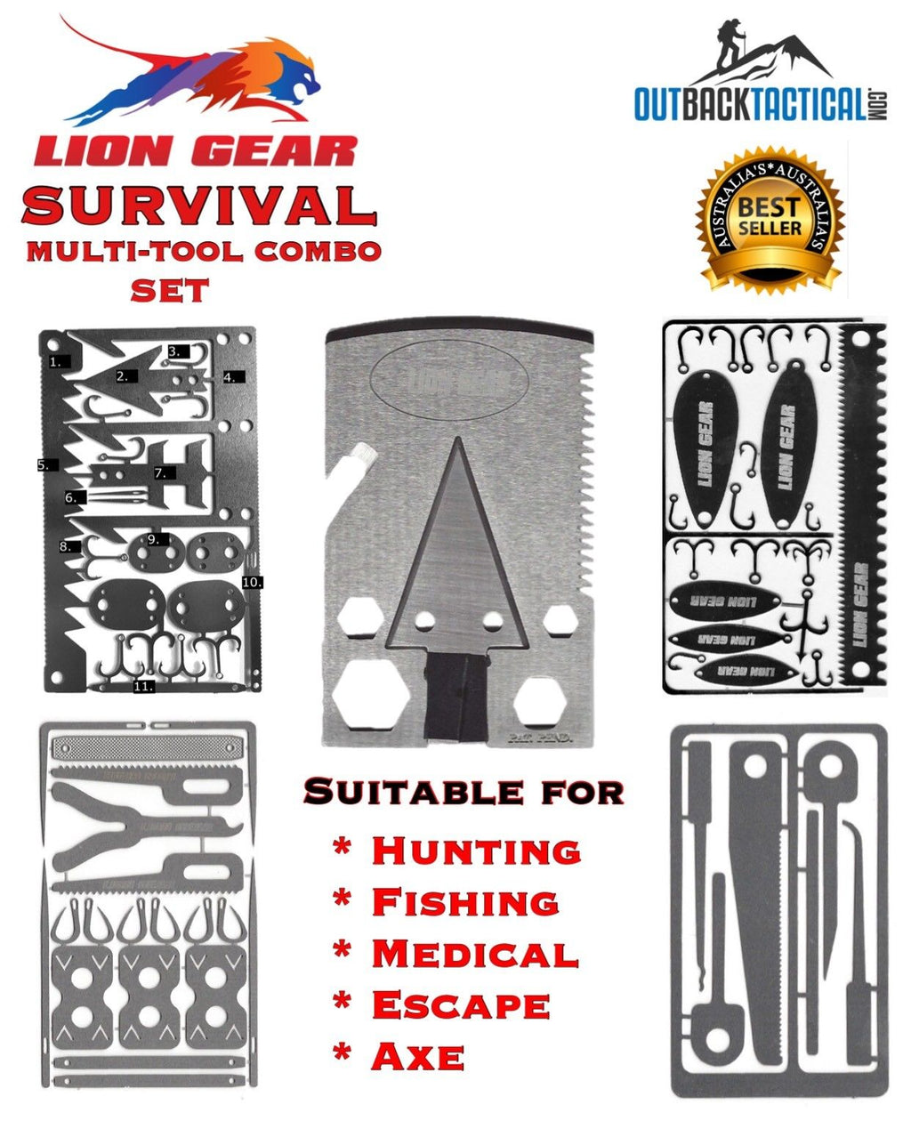 EDC 5 Pcs SURVIVAL CARD COMBO SET  4 Cards Multitools Tools & 1 Axe - Outback Tactical