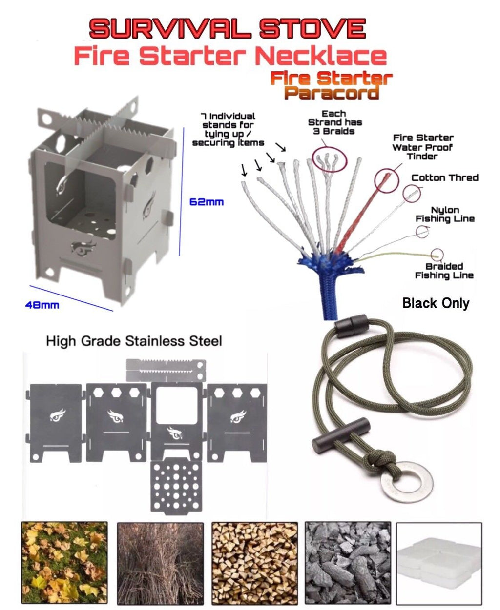 Survival Dual Fuel Camping Fishing Stove with 11 Strand Fire Starter Necklace - Outback Tactical