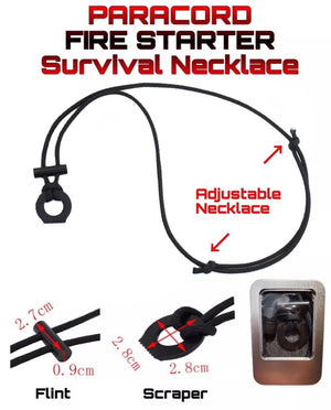 Paracord Fire Starter Necklace With Flint & Scraper Or Striker Storage Case - Outback Tactical