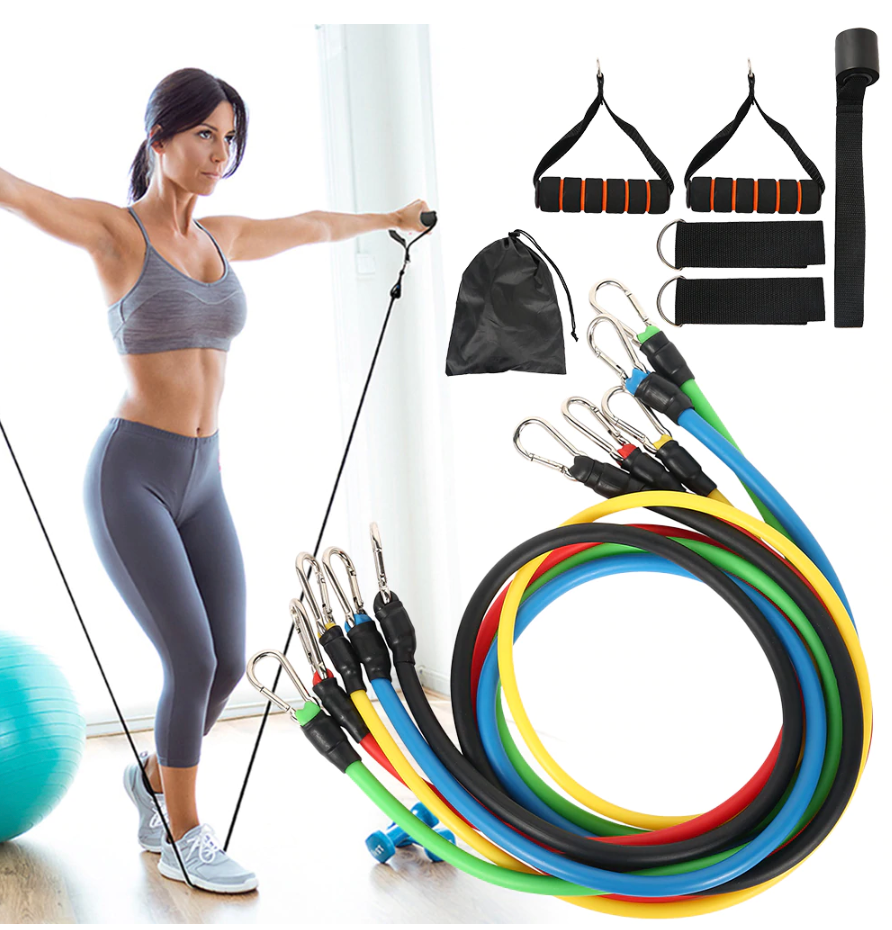 TrainerMax™ Fitness Resistance Bands Exercise Elastic Kit with Handles and Door Anchor (Complete Set)