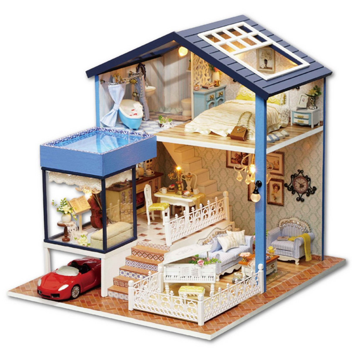 Exquisite Miniature DIY Doll House With Furniture And Lights dollhouse