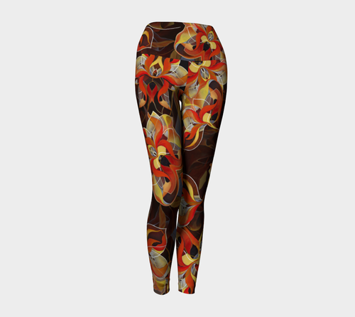 BLOOMING ORANGE, Yoga Leggings