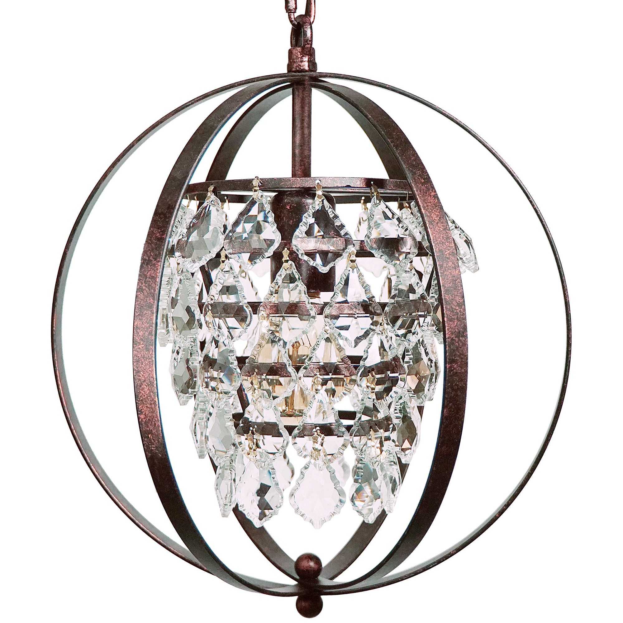 Starthi mini crystal pendant light globe chandelier with round shades starthi mini crystal pendant light globe chandelier with round shades wrought iron antique bronze arubaitofo Images
