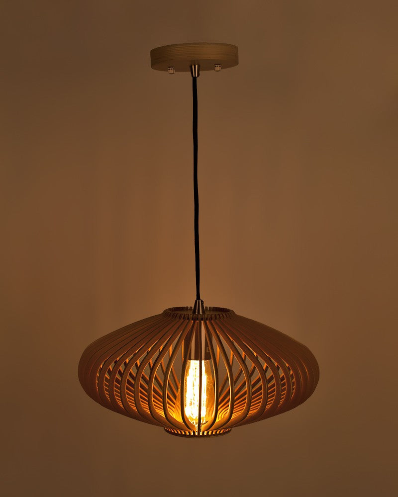 Starthi Lantern Shape Wooden Pendant Light