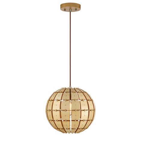 Modern Style Wooden Pendant Light with Spherical Shade