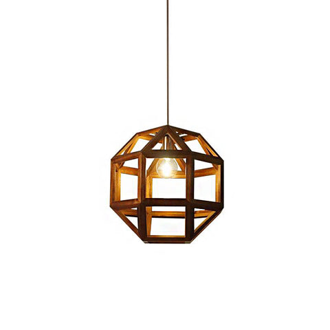 Modern Style Square Geometry Acaciawood Pendant Light