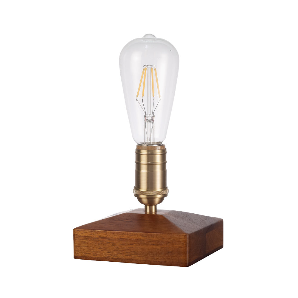 Starthi Vintage Dimmable Table Lamp, Walnut Wood Brass Copper Desk Lamp, Retro Cigar Box Lamp